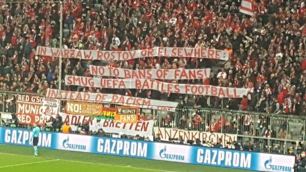 """Kibice Bayernu wspierają Legię. """"UEFA walczy z futbolem a nie rasizmem"""""""