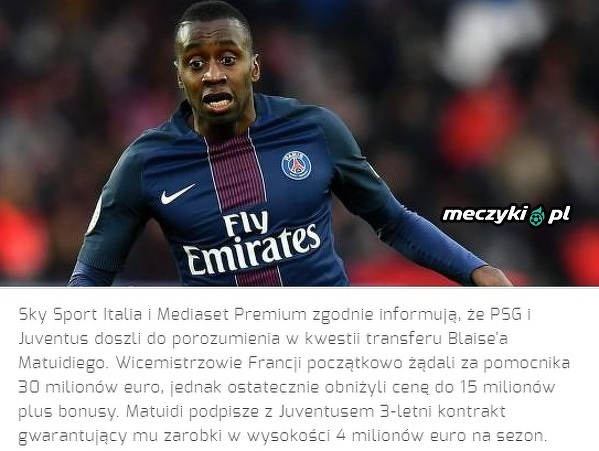 Matuidi przechodzi do Juventusu
