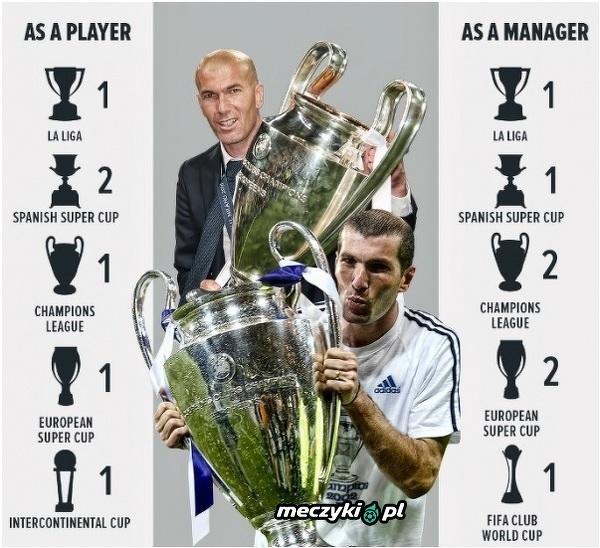 Trofea Zidane jako piłkarza i jako trenera