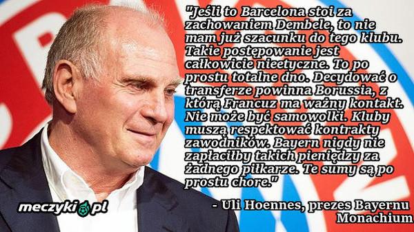 Prezes Bayernu ostro o FC Barcelonie