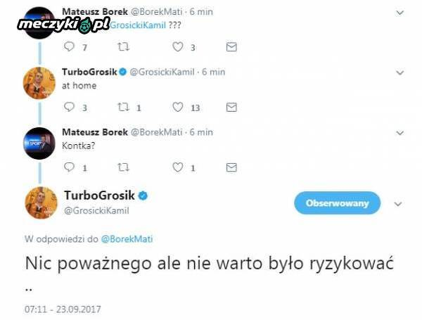 Kamil Grosicki potwierdził lekki uraz
