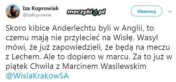 Kibice Anderlechtu wybierają się na mecz Wisły z Lechem