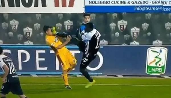 Bolesne karate w Serie B. Piłkarz trafił korkami prosto w twarz rywala [VIDEO]