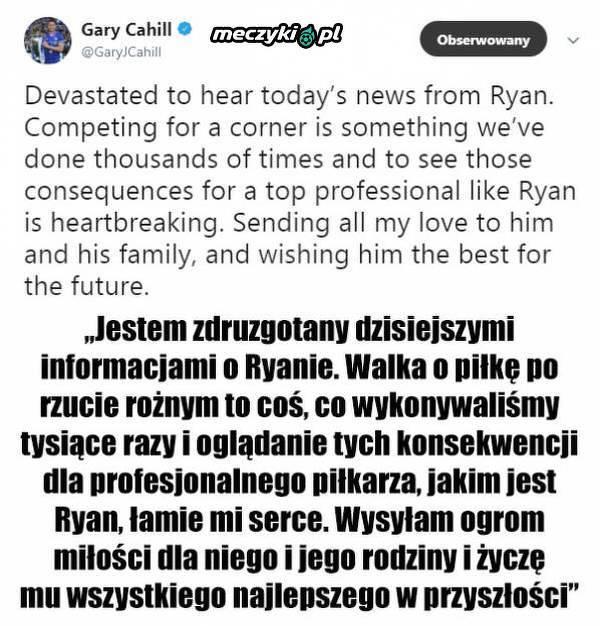 Wiadomość Cahilla po zakończeniu kariery przez Masona