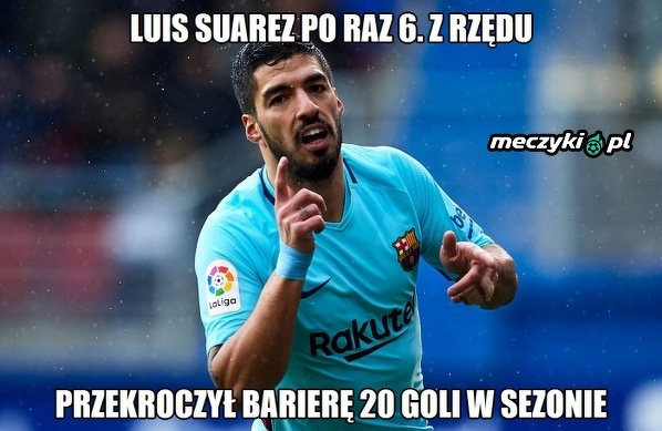 Suarez szósty raz z rzędu strzelił ponad 20 goli w sezonie