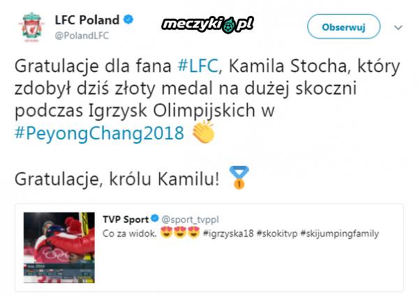 Liverpool pogratulował Stochowi olimpijskiego złota