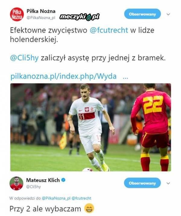 Mateusz Klich poprawił 'Piłkę Nożną