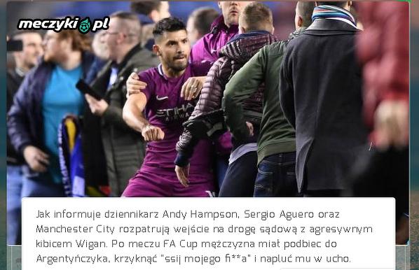 Aguero i City mogą wejść na drogę sądową z kibicem Wigan