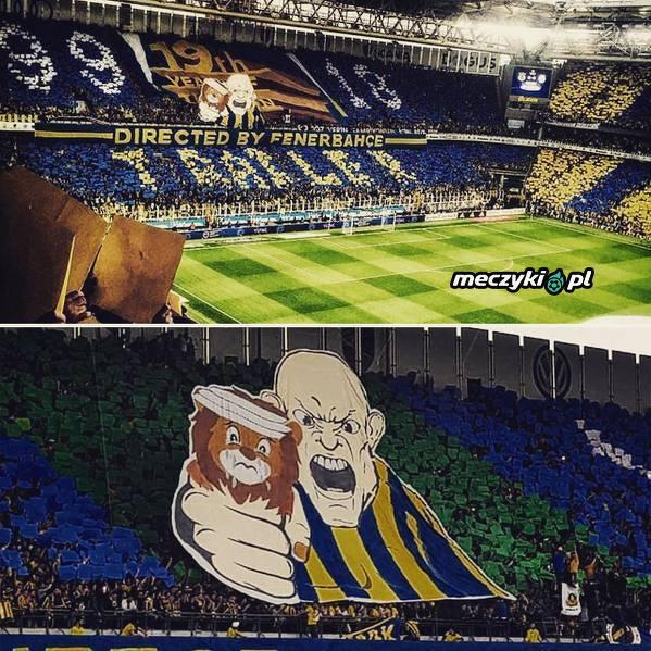 Oprawa kibiców Fenerbahce podczasu meczu z Galatasaray
