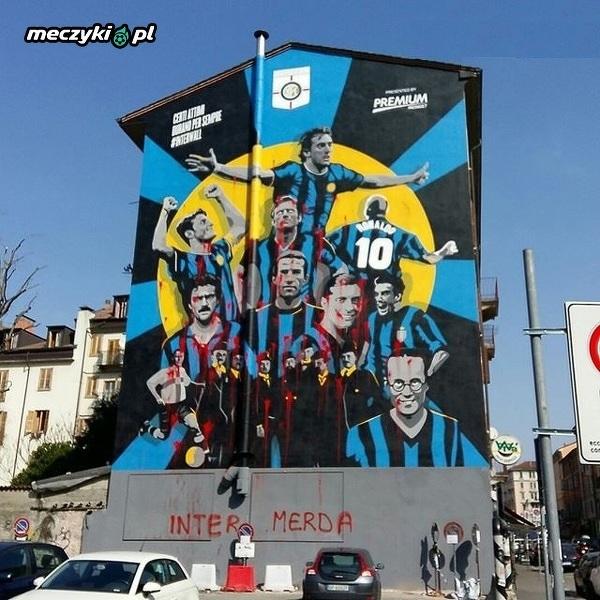 Idioci zniszczyli mural który powstał na 110-lecie Interu Mediolan