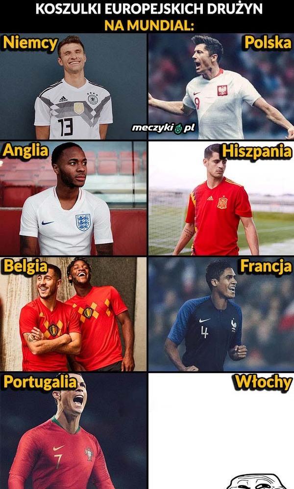 Koszulki europejskich drużyn na Mistrzostwa Świata