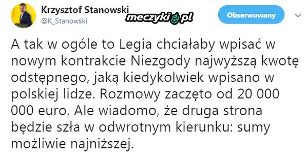 Taką klauzulę chce wpisać Legia w umowie Niezgody