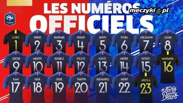 Numery z jakimi reprezentanci Francji będą występować na MŚ w Rosji