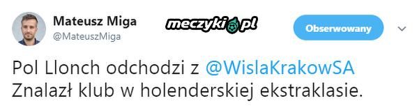 Llonch odchodzi z Wisły Kraków