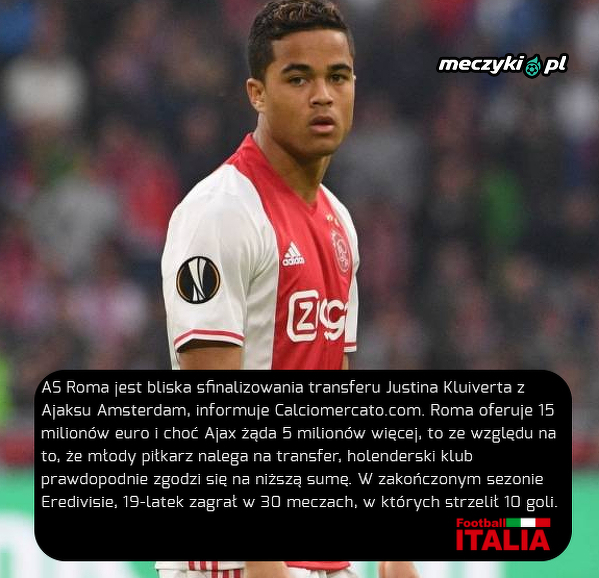 Justin Kluivert blisko AS Romy