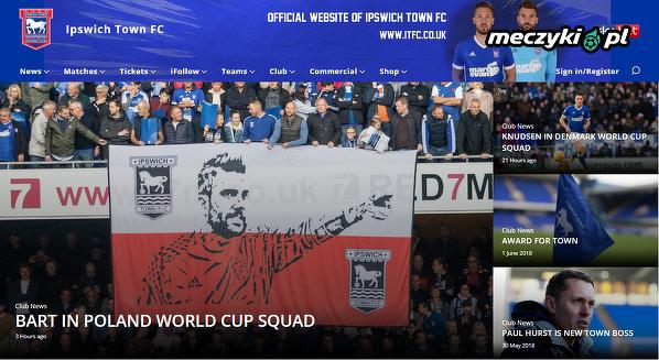 Białkowski na stronie głównej Ipswich FC