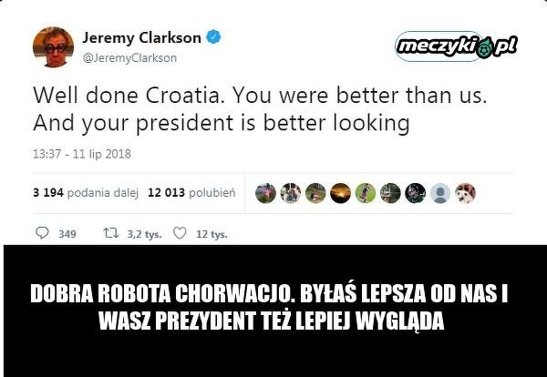 Jeremy Clarkson pogratulował Chorwacji