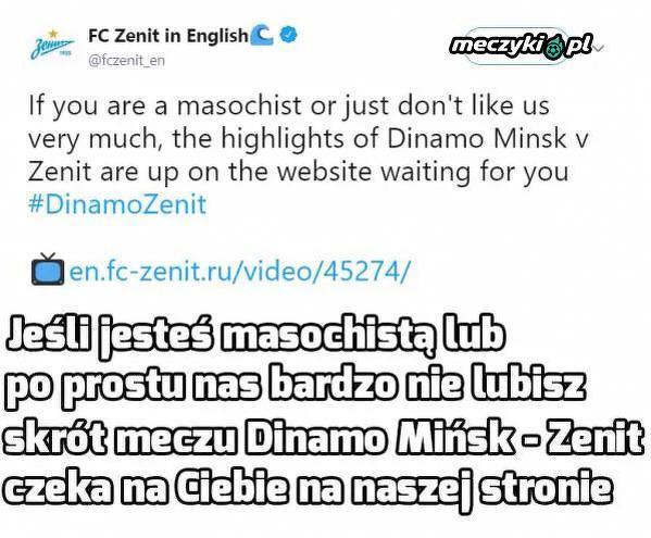 Zenit przegrał 0:4 i ma do tego dystans