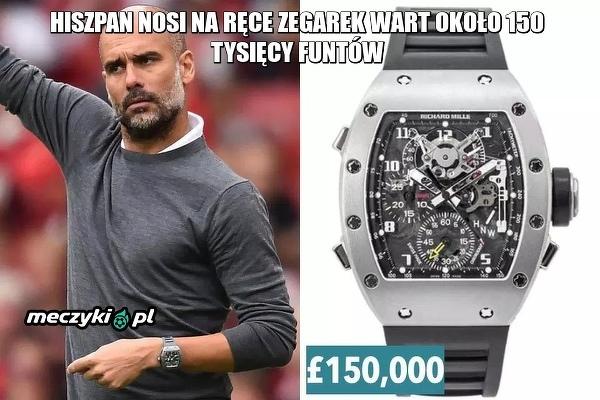Guardiola ma najdroższy zegarek wśród wszystkich menedżerów Premier League