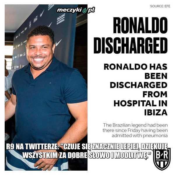 Ronaldo opuścił już szpital na Ibizie, gdzie trafił tam z powodu zapalenia płuc