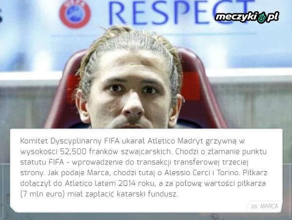 FIFA ukarała Atletico