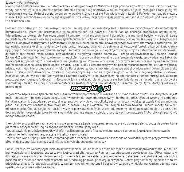 List otwarty kibiców Legii do Prezesa Mioduskiego