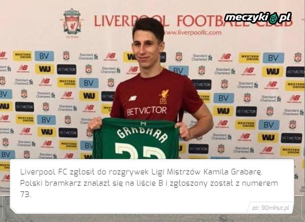 Liverpool zgłosił Grabarę do Ligi Mistrzów