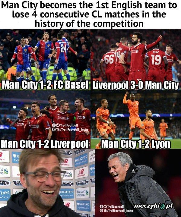 Manchester City pierwszą angielską drużyną, która przegrała 4 mecze z rzędu w Lidze Mistrzów