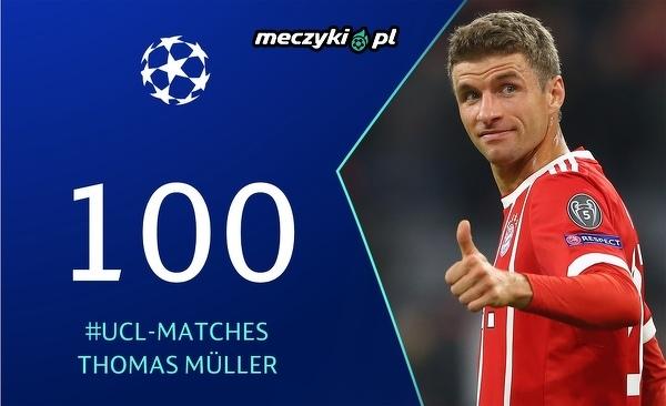 Thomas Müller rozegrał wczoraj swój setny mecz w Lidze Mistrzów