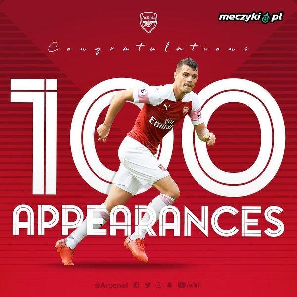 Granit Xhaka rozegra 100. mecz w barwach Arsenalu