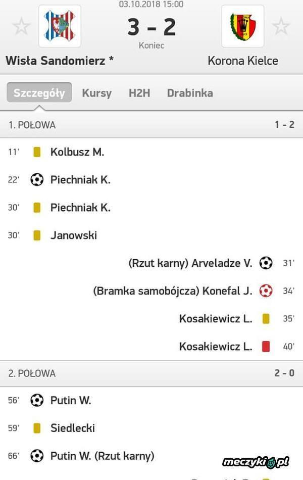 Putin wyeliminował Korone Kielce z Pucharu Polski