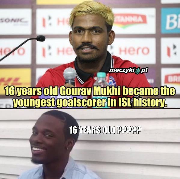 16-letni Gourav Mukhi z Indii został najmłodszym strzelcem w Indian Super League