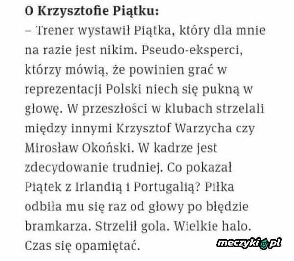 Jan Tomaszewski o Krzysztofie Piątku