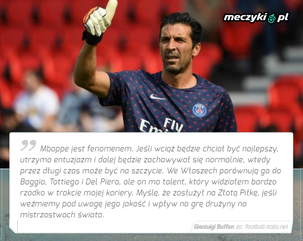 Buffon ocenił szanse Mbappe na Złotą Piłkę