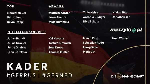 Kadra Niemiec na najbliższe mecze z Rosją i Holandią