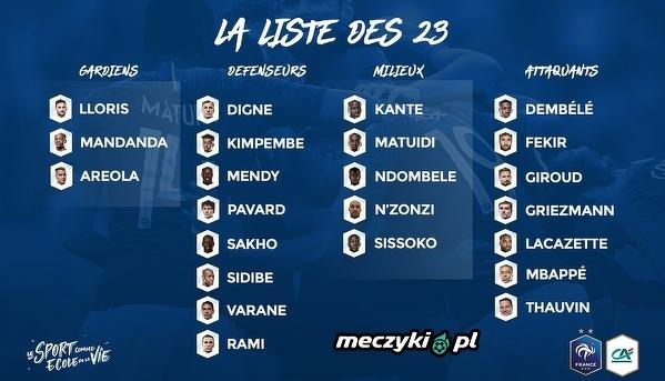 Kadra Francji na najbliższe mecze z Holandią i Urugwajem