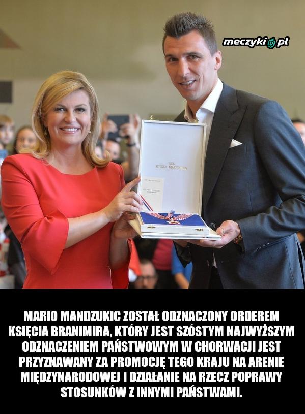 Mario Mandzukic został odznaczony Orderem Księcia Branimira