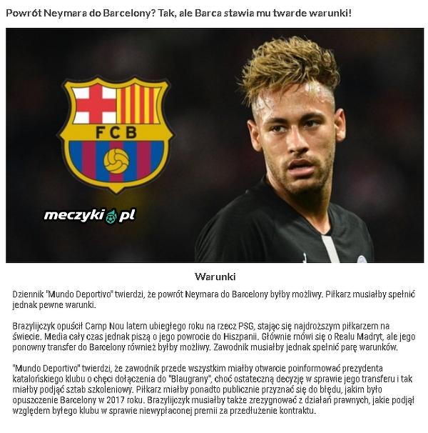 Dalszy ciąg spekulacji w sprawie transferu Neymara