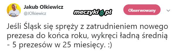 Niechlubny rekord Śląska Wrocław