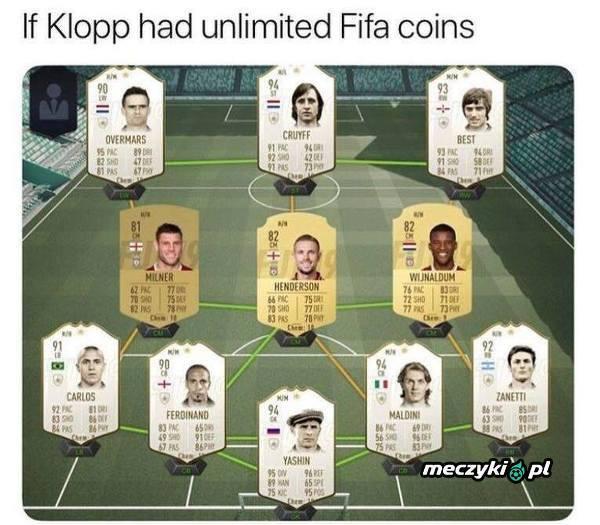 Gdyby Klopp miał nieskończoną liczbę FIFA coins