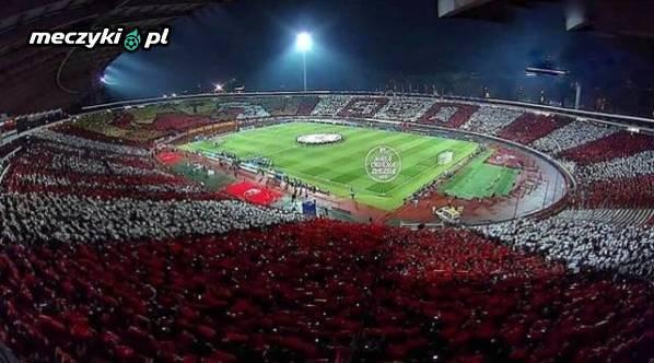 Oprawa kibiców Crveny Zvevzdy na mecz z PSG