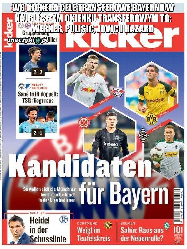 Potencjalne cele transferowe Bayernu wg Kickera