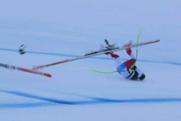 Makabryczny wypadek szwajcarskiego narciarza. Mocno uderzył o stok [WIDEO]