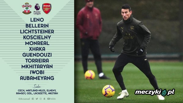 Skład Arsenalu na mecz z  Southampton