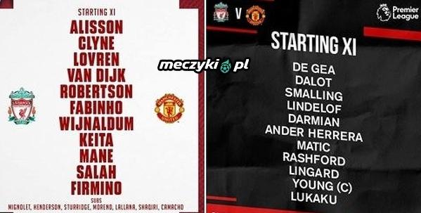 Wyjściowe jedenastki Liverpoolu i Manchesteru United na mecz