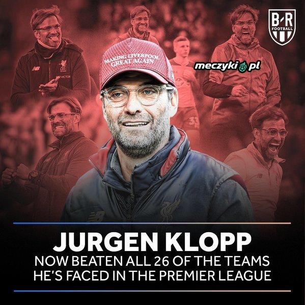 Jurgen Klopp pokonał już wszystkie drużyny, z którymi grał w Premier League