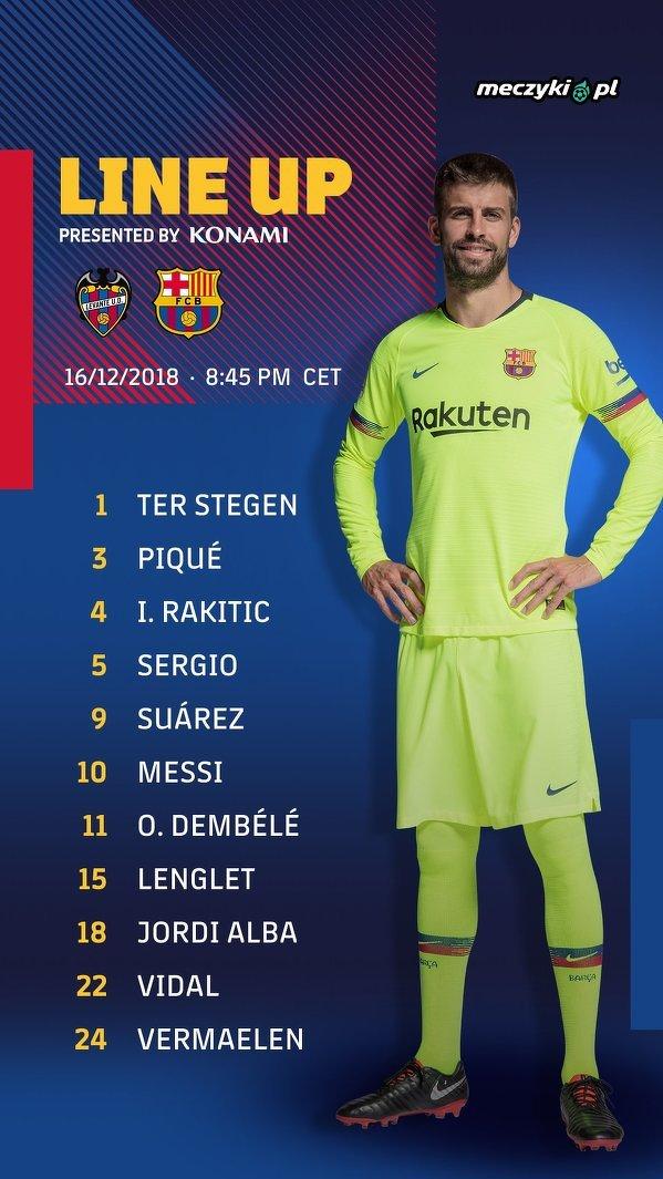 Wyjściowa jedenastka FC Barcelony na mecz z Levante