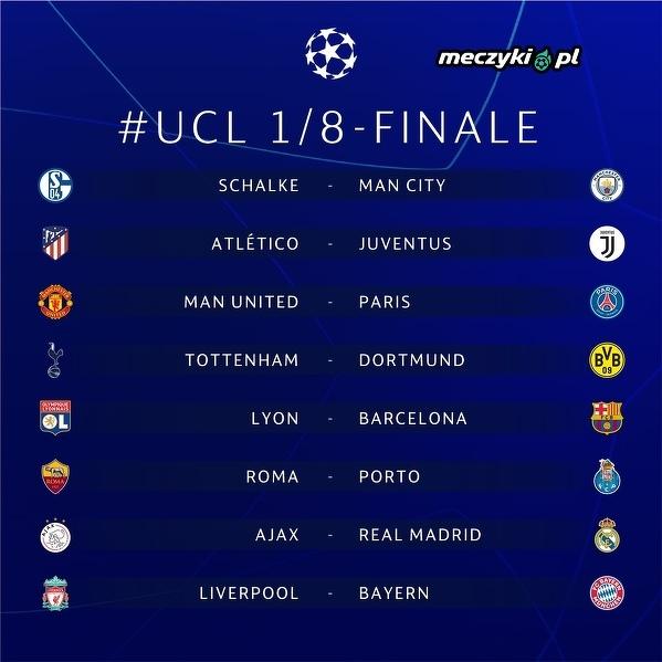 Wszystkie pary 1/8 Ligi Mistrzów
