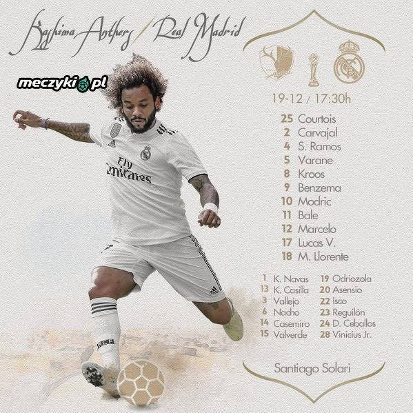 Wyjściowa jedenastka Realu Madryt na mecz z Kashimą Antlers