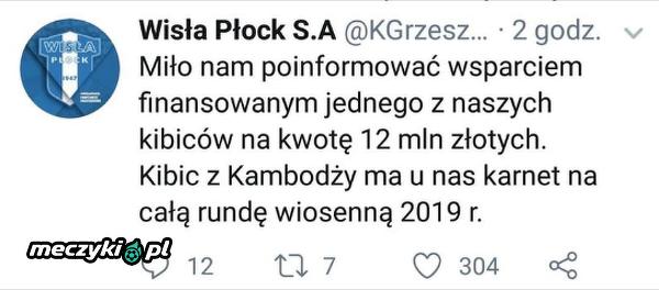 Wisła Płock żartuje z Wisły Kraków